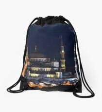 Blue Mosque at Night Drawstring Bag