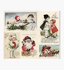 Vintage Christmas Postcard Collage Photographic Print