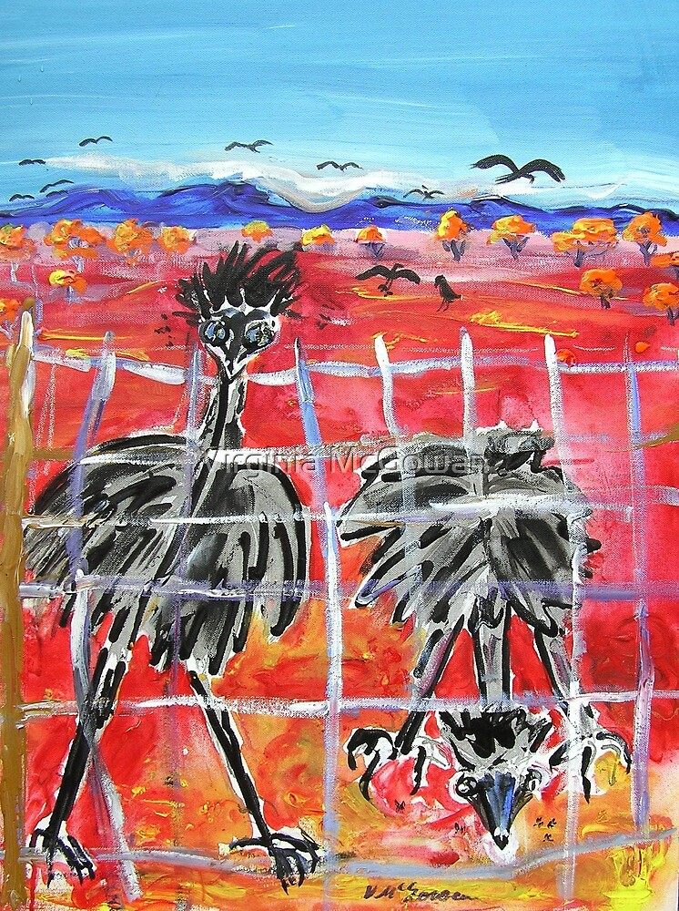 The Barrier , Outback  Emus.  by Virginia McGowan