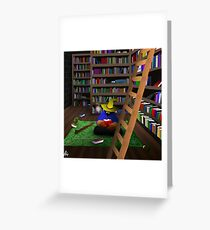 Black Mage in Library Greeting Card