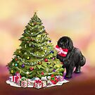 Newfie and Christmas Presents and Tree by Patricia Reeder Eubank