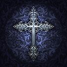Gothic Cross Throw Pillow by Brigid Ashwood