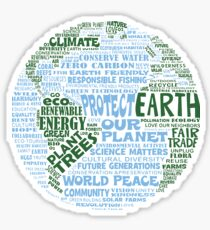 Protect Earth // Blue-Green Words for Earth Sticker