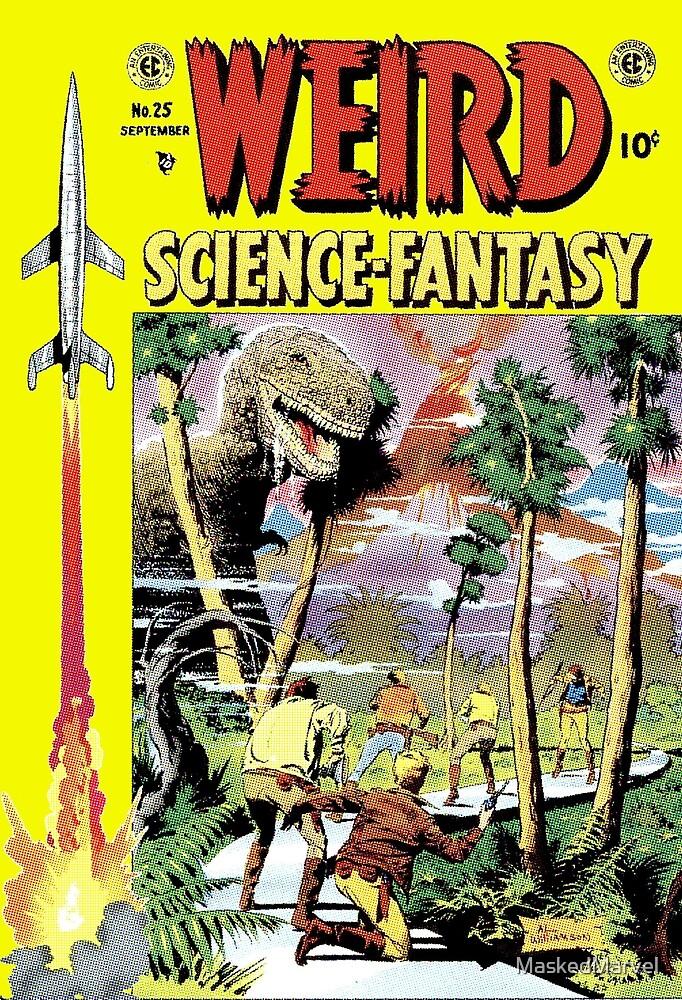 Weird Science Fiction Dinosaur, rockets, pulp fiction by MaskedMarvel