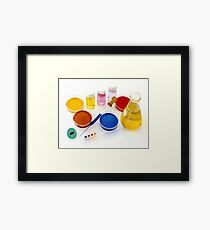 lab tools, products and chemicals on white background Framed Print