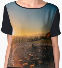 colorful autumn sunset in the italian countryside Women's Chiffon Top