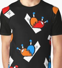 Hearts with Stitches - Blue Red Orange - Black Graphic T-Shirt