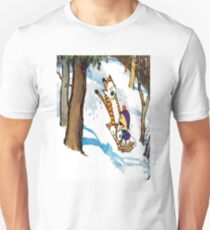 calvin and hobbes happy snow T-Shirt