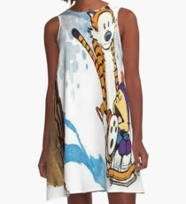 calvin and hobbes happy snow A-Line Dress