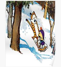 calvin and hobbes happy snow Poster