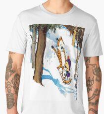 calvin and hobbes happy snow Men's Premium T-Shirt