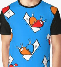 Hearts with Stitches - Blue Red Orange - Blue Graphic T-Shirt