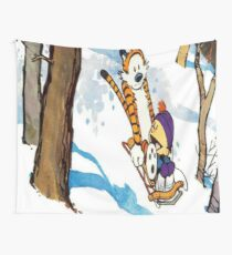 calvin and hobbes happy snow Wall Tapestry