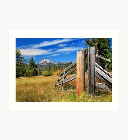 Broken Fence And Mount Lassen Art Print