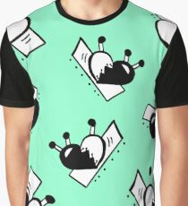 Hearts with Stitches - Black with Seafoam Green Graphic T-Shirt