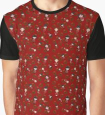 Flusay Girls Christmas Print in Red Graphic T-Shirt