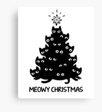 Cat Xmas Merry Christmas Ugly Sweater Christmas Canvas Print