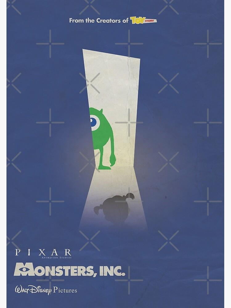 Monsters Inc 3d Animated Minimal Movie Poster Alternative Cartoon Playbill Pete Docter John Goodman Billy Crystal Greeting Card