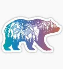 California Bear with Mountains Landscape and Trees Rainbow Silhouette Sticker