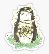 Weihnachten - Pinguin - Lichterkette Sticker