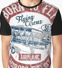 BORN TO FLY - Vintage Airplane Retro Airplane Shirt Graphic T-Shirt