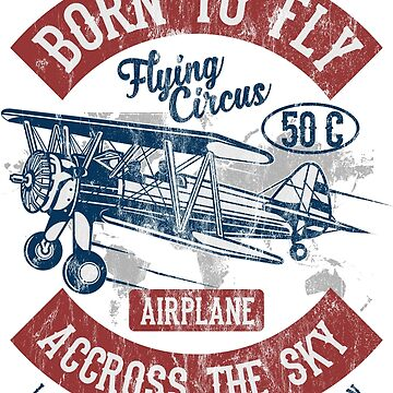 BORN TO FLY - Vintage Airplane Retro Airplane Shirt by superiors-shop