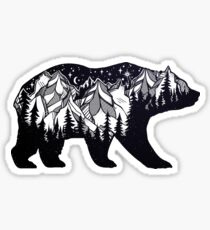 Wanderlust California Bear Silhouette with Mountains Landscape, Trees, Moon & Stars Sticker