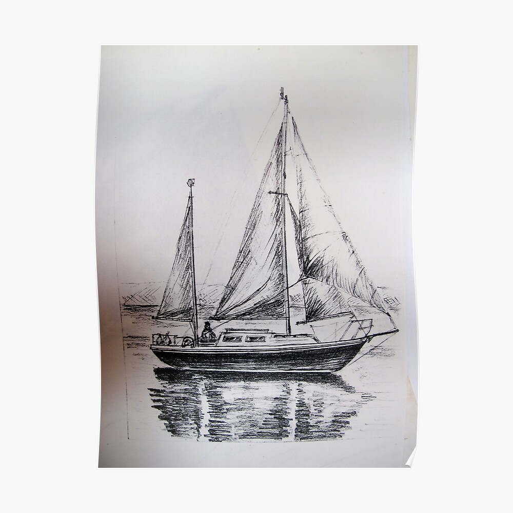 A pencil drawing of my yacht s y magali