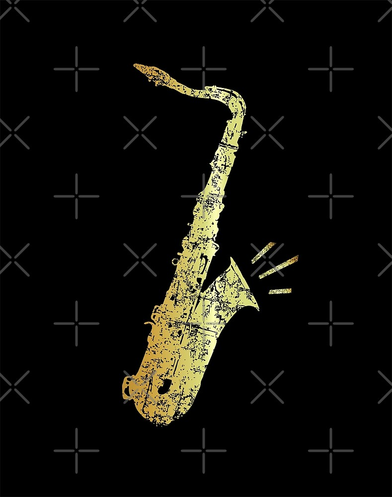Tenor Sax (Distressed Gold) by theshirtshops