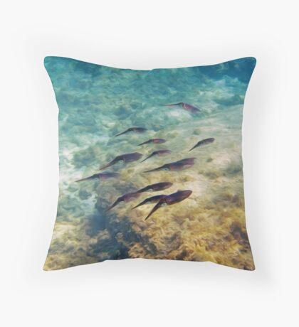 Caribbean Reef Squid in Oils Throw Pillow