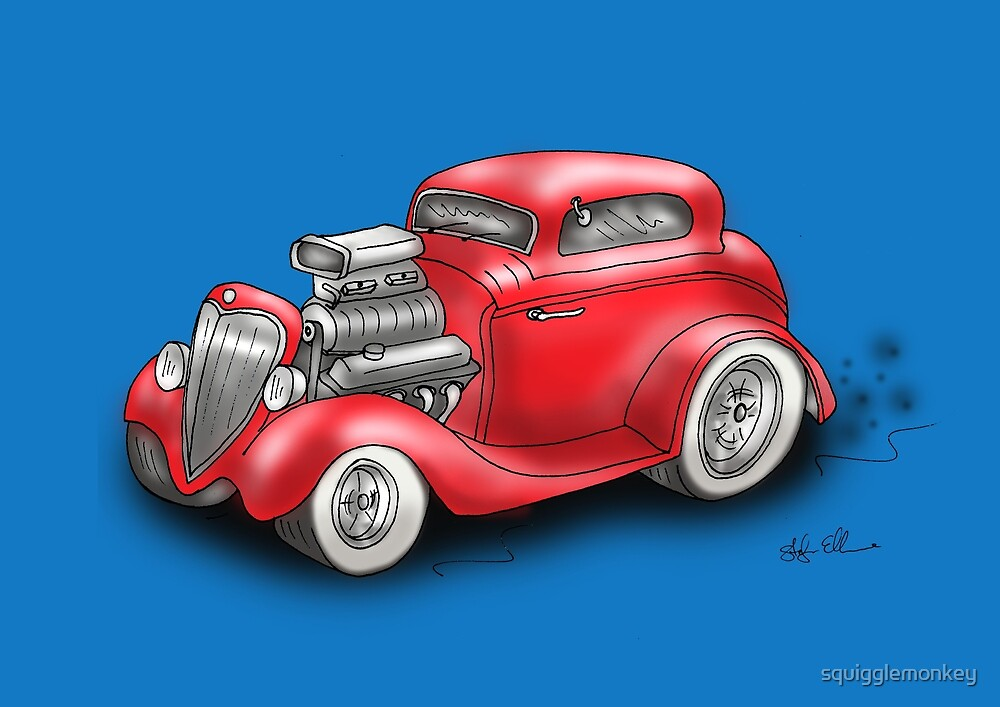HOT ROD BEAST CHEV STYLE RED by squigglemonkey