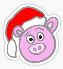 Christmas Pig Sticker