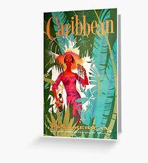 Caribbean Vintage Travel Poster Greeting Card