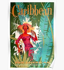 Vintage Caribbean Travel Poster Poster