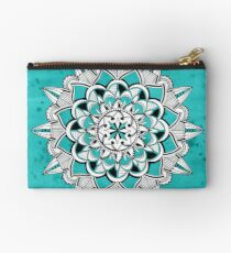 Mandala on turquoise watercolor background Studio Pouch