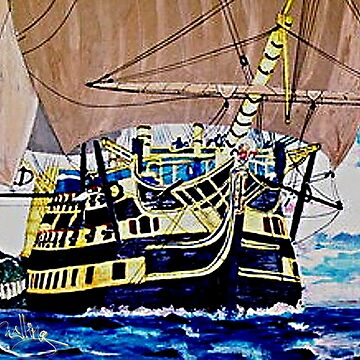 My acrylic painting of HMS Victory en route to the Battle of Trafalgar 1805 by ZipaC
