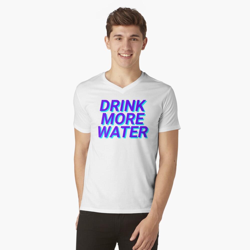 trinke mehr Wasser T-Shirt mit V-Ausschnitt