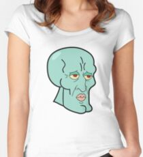 Handsome Squidward - Funny Spongebob Cartoon Meme Shirt Women's Fitted Scoop T-Shirt