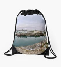 Hurry Head Harbour, Carnlough, County Antrim Drawstring Bag