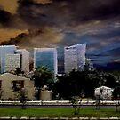 urban landscape under troubled skies by guy natav