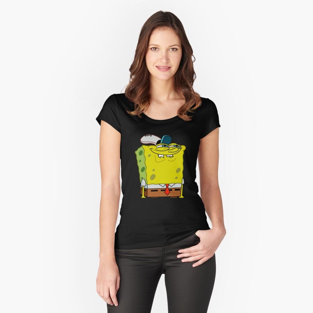 Grinning Spongebob - Funny Spongebob Meme Shirt Fitted Scoop T-Shirt