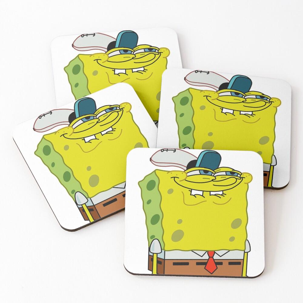 Grinning Spongebob - Funny Spongebob Meme Shirt Coasters (Set of 4)