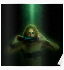 Digitally enhanced image of a female model with a duct taped mouth  Poster