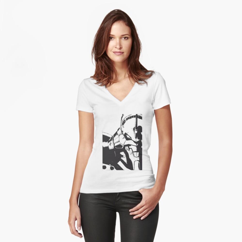 Evangelion Unit-01 Blanco y negro Camiseta entallada de cuello en V