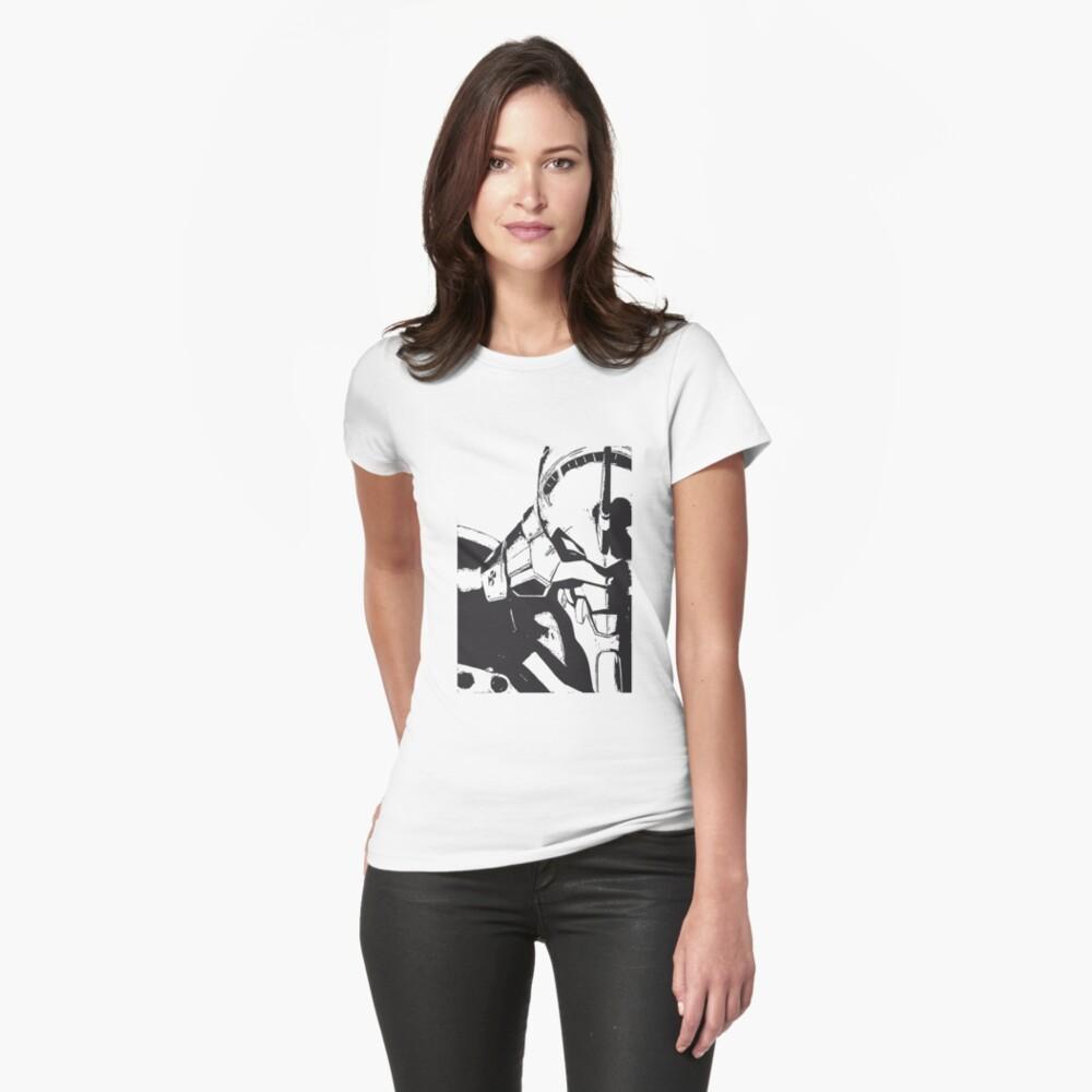 Evangelion Unit-01 Blanco y negro Camiseta entallada