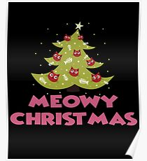 Meowy X'mas Cat Christmas Tree Ugly Sweater Christmas Poster