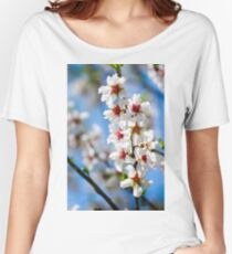 Blossoming tree branch with white flowers close-up Women's Relaxed Fit T-Shirt