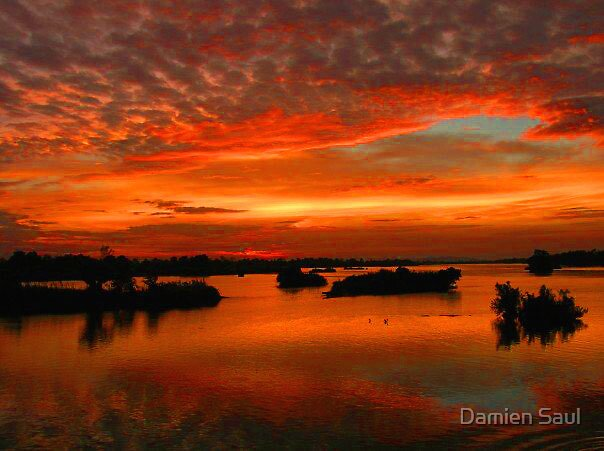 sunset,southern laos by Damien Saul