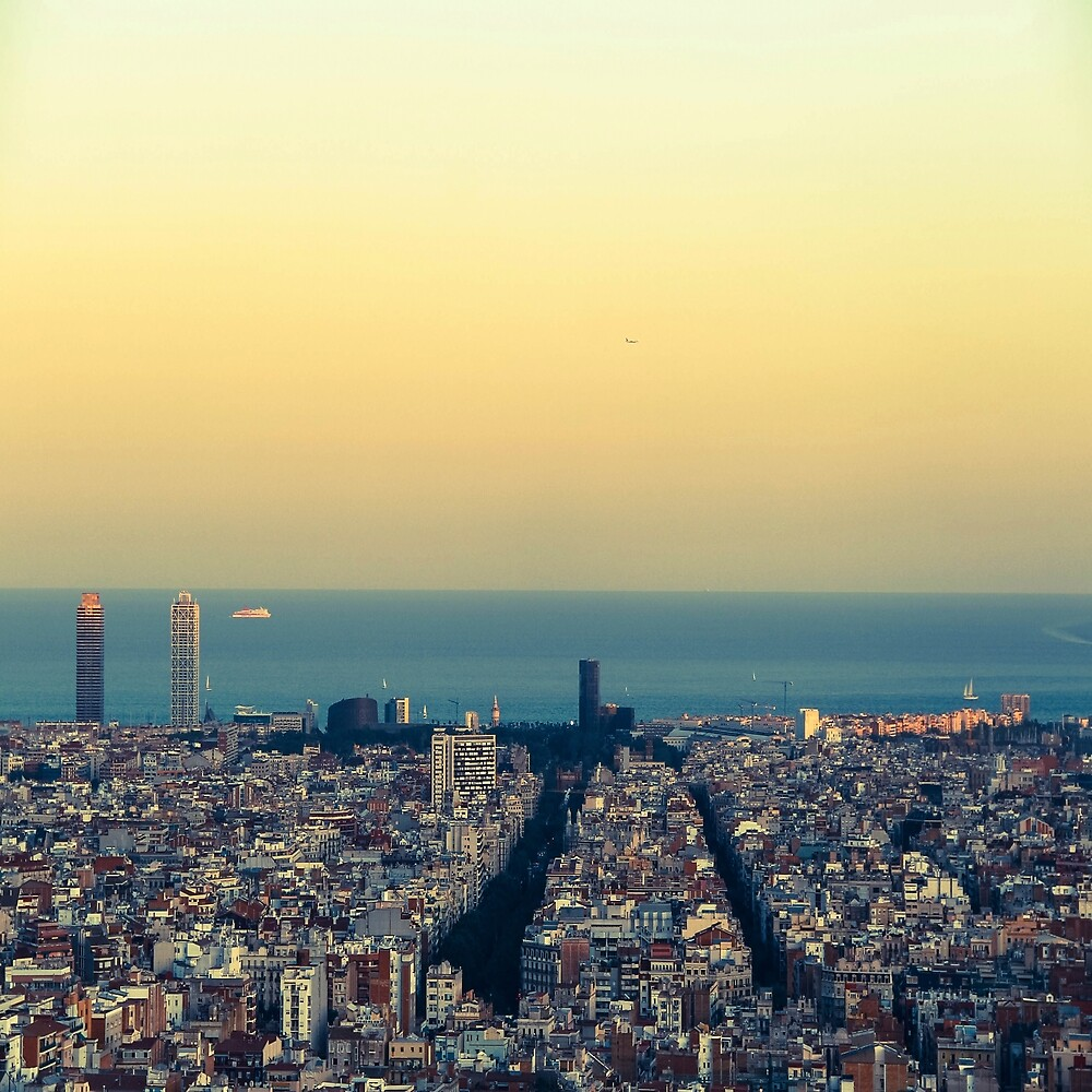 Panorama on Barcelona city from Montjuic castle.Catalonia by LoraSi