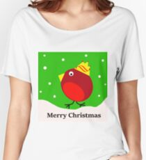 Merry Christmas Robin Women's Relaxed Fit T-Shirt